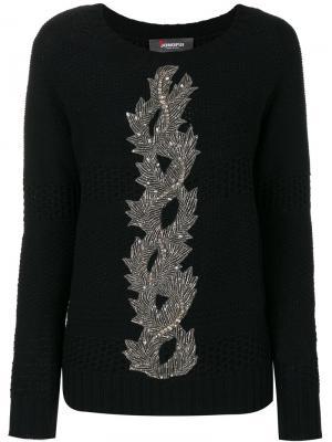 Вязаный свитер с вышивкой Jo No Fui. Цвет: синий