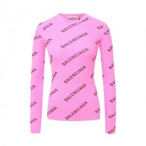 Пуловер с логотипом бренда Balenciaga. Цвет: розовый