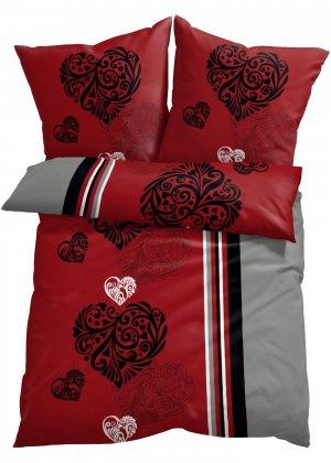 Постельное белье с узором в виде сердец bonprix. Цвет: красный