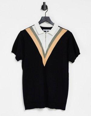 Черный джемпер с короткими рукавами и шевронным узором -Черный цвет Bellfield