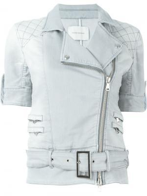 Джинсовая куртка с поясом и короткими рукавами Pierre Balmain. Цвет: серый
