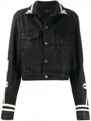 Джинсовая куртка с вельветовыми вставками AMIRI. Цвет: черный