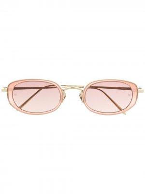 Солнцезащитные очки в овальной оправе Linda Farrow. Цвет: золотистый