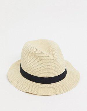 Бежевая соломенная шляпа -Белый ASOS DESIGN