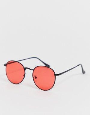 Круглые солнцезащитные очки в красной металлической оправе New Look. Цвет: красный