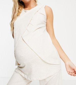 Трикотажная пижамная майка кремового цвета для кормящих матерей ASOS DESIGN Maternity – «Выбирай и комбинируй»-Белый