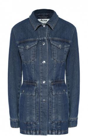 Удлиненная джинсовая куртка с накладными карманами Acne Studios. Цвет: синий