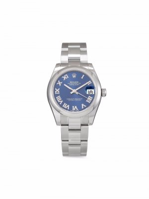 Наручные часы Datejust pre-owned 31 мм 2020-го года Rolex. Цвет: синий