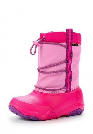 Дутики Crocs Swiftwater Waterproof Boot K. Цвет: розовый