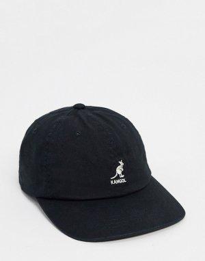 Выбеленная черная бейсболка -Черный Kangol