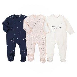 Комплект из 3 цельных пижам LaRedoute. Цвет: розовый