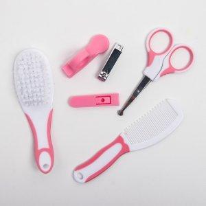 Набор по уходу за ребёнком, 6 предметов: детская расчёска, щётка, книпсер с чехлом, безопасные ножницы колпачком, для девочки Крошка Я