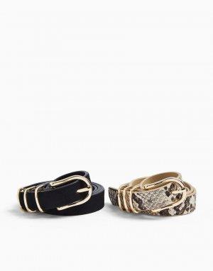 Набор из 2 узких ремней черного цвета -Черный цвет Miss Selfridge