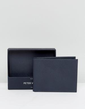 Темно-синий бумажник с гравировкой Peter Werth. Цвет: синий