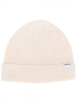 Logo patch beanie hat A.P.C.. Цвет: белый