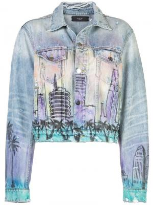 Укороченная джинсовая куртка с графическим принтом Amiri. Цвет: синий
