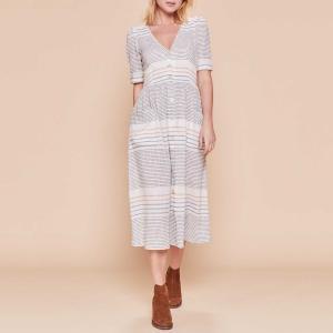 Платье-рубашка с короткими рукавами Festival DERHY. Цвет: экрю в полоску