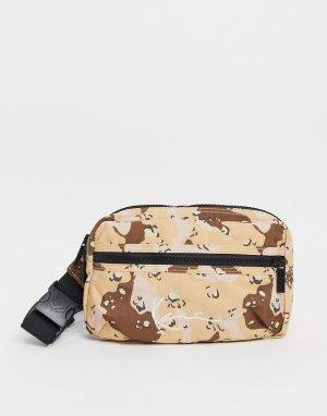 Бежевая сумка-кошелек на пояс с камуфляжным принтом и логотипом -Коричневый цвет Karl Kani