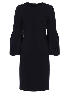 Платье с рукавами-воланами CAROLINA HERRERA. Цвет: черный
