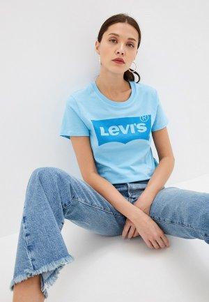 Куртка джинсовая Levis® Levi's® Ex-Bf Sherpa Trucker. Цвет: голубой