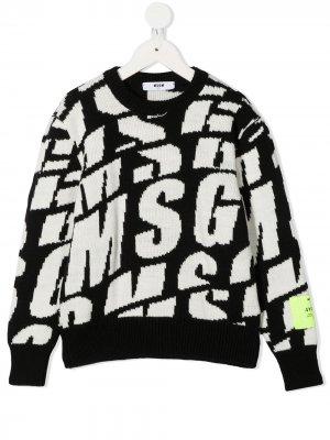 Джемпер с логотипом вязки интарсия Msgm Kids. Цвет: черный