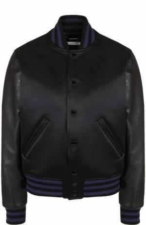 Бомбер свободного кроя с кожаными рукавами Givenchy. Цвет: черный