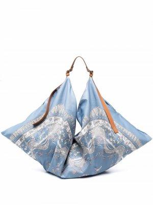 Большая сумка-тоут с принтом пейсли Emilio Pucci. Цвет: синий