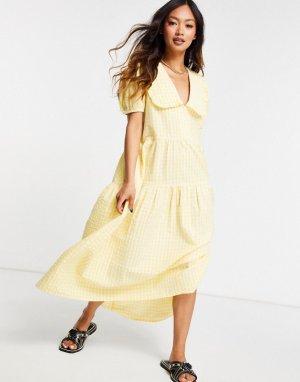 Платье миди в клетку с присборенной ярусной юбкой и большим воротником -Желтый Neon Rose