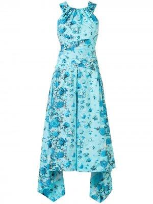 Платье миди с вырезом халтер Peter Pilotto. Цвет: синий