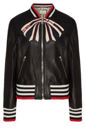 Кожаная куртка с контрастной отделкой Gucci. Цвет: черный