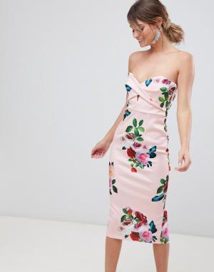 Облегающее платье с цветочным принтом ASOS DESIGN. Цвет: мульти