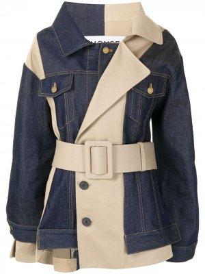 Реконструированная джинсовая куртка Monse. Цвет: синий