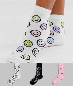 Набор из 3 пар носков до щиколотки с изображением смайликов -Мульти ASOS DESIGN