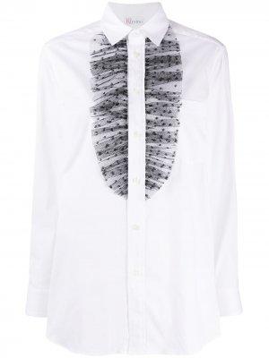 Рубашка с оборками из тюля в горох RedValentino. Цвет: белый