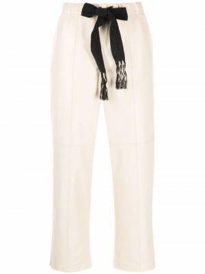 Кожаные брюки со вставками Alysi. Цвет: нейтральные цвета