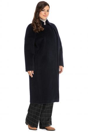 Длинное женское пальто кокон на большой размер Leoni Bourget. Цвет: темно-синий