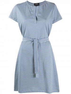 Платье в полоску с завязками на талии A.P.C.. Цвет: синий