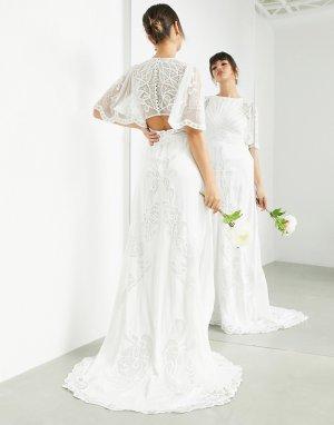 Свадебное платье с расклешенными рукавами и винтажной вышивкой Savannah-Белый ASOS EDITION