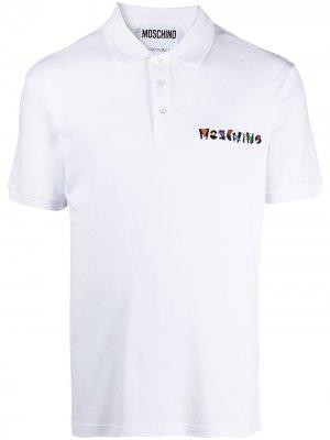 Рубашка поло с вышитым логотипом Moschino. Цвет: белый