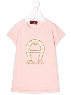 Футболка с вышитым логотипом Aigner Kids. Цвет: розовый