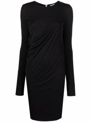 Платье со сборками и длинными рукавами Salvatore Ferragamo. Цвет: черный