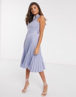 Лавандовое платье миди с плиссированной юбкой -Фиолетовый Closet London