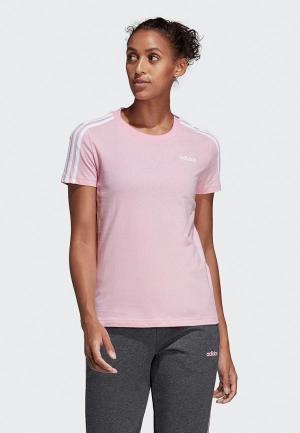 Футболка adidas W E 3S SLIM TEE. Цвет: розовый