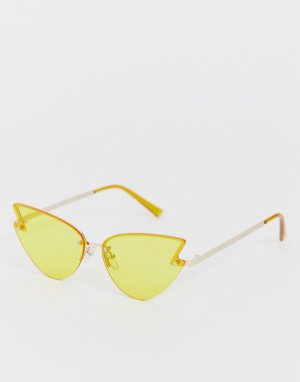 Желтые очки в круглой оправе AJ Morgan. Цвет: желтый