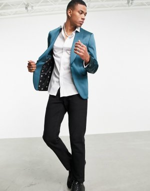 Зеленый атласный пиджак с широкими лацканами наклонной формы -Зеленый цвет Twisted Tailor