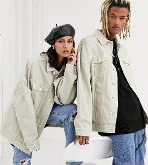Светло-бежевая джинсовая oversize-куртка COLLUSION Unisex-Белый