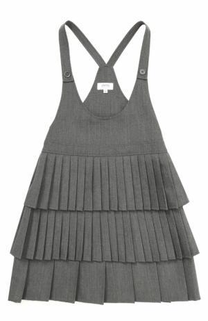 Мини-сарафан с V-образным вырезом и юбкой со складками Aletta. Цвет: темно-серый