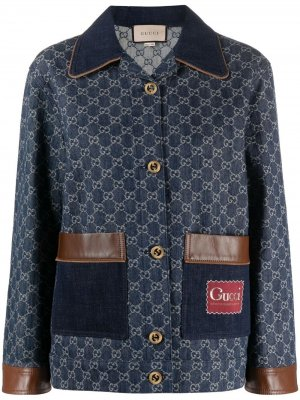 Джинсовая куртка с узором GG Supreme Gucci. Цвет: синий