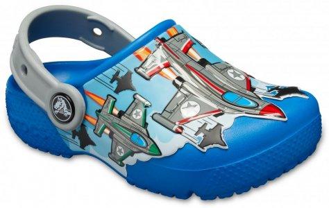 Сабо для мальчиков CROCS Boys' Fun Lab Fighter Jets Clog Bright Cobalt арт. 205949. Цвет: bright cobalt