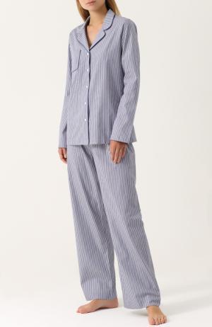 Хлопковая пижама в полоску Derek Rose. Цвет: разноцветный